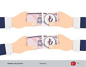 200 Turkish Lira Banknote. Group of hands tearing banknote. Flat style vector illustration. Business finance concept.