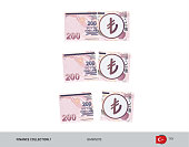 200 Turkish Lira Banknote. Group of tearing moneys. Flat style vector illustration. Business finance concept.