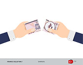 200 Turkish Lira Banknote. Hands tearing banknote. Flat style vector illustration. Business finance concept.