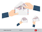 200 Turkish Lira Banknotes in envelope hold in hand. Group of flat style opened white envelopes with cash. Salary payout or corruption concept.