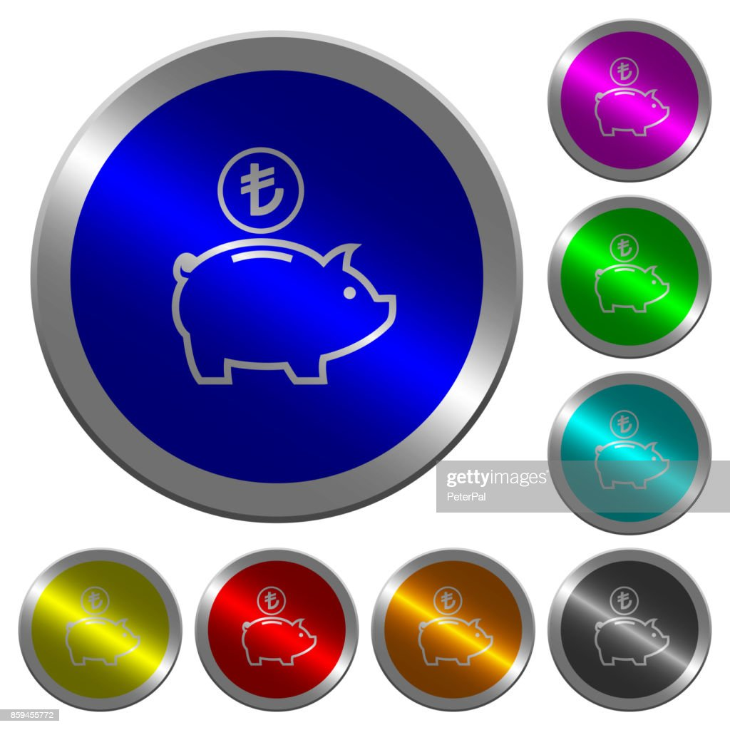 Turkish Lira piggy bank luminous coin-like round color buttons