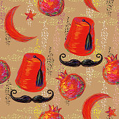Turkish seamless pattern with pomegranate, fez, mustache and Crescent and Star