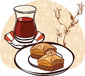 Turkish tea and traditional pastry