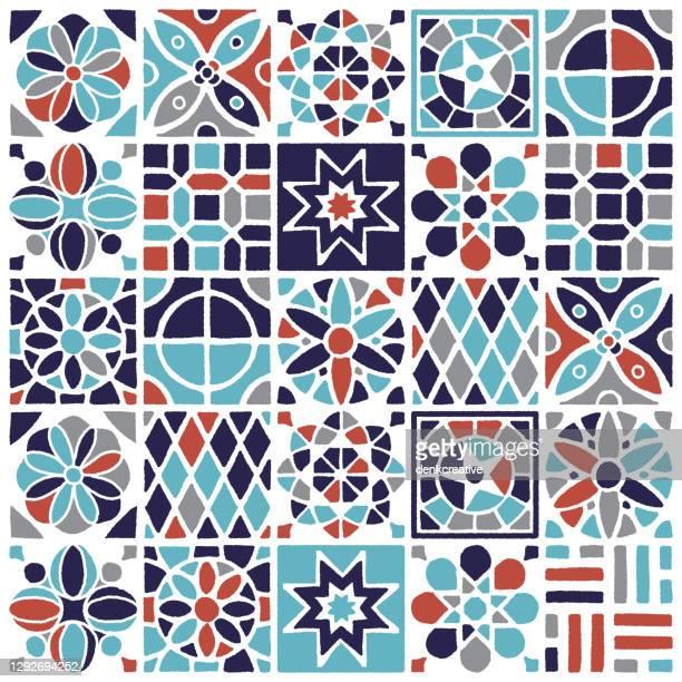 illustrazioni stock, clip art, cartoni animati e icone di tendenza di design del motivo senza cuciture di piastrelle e ceramiche turche - turchia