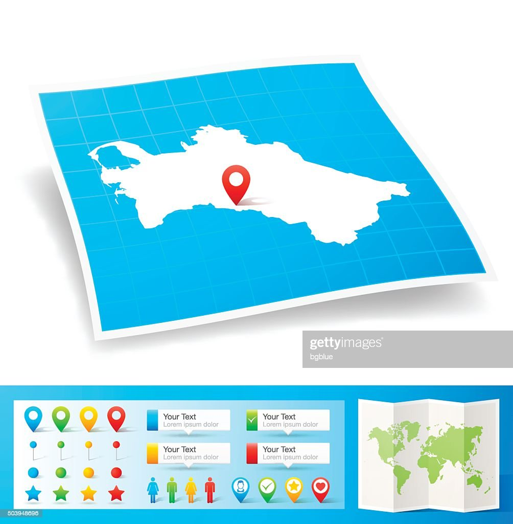 Turkmenistan Map With Location Pins Isolated On White Background