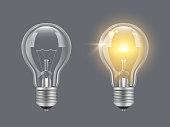 Turn on bulb. Light realistic transparent bulb bright lamp vector pictures