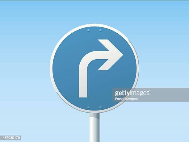Biegen Sie rechts nach deutschen Schild-Blau