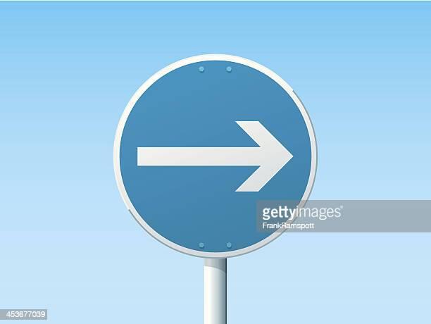 turn right german road sign blue - frankramspott stock illustrations