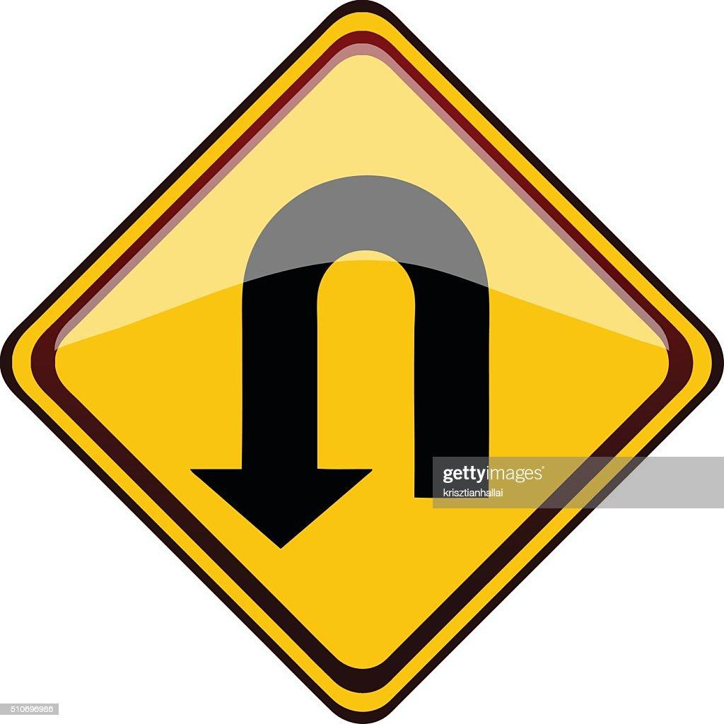 U Turn Road Sign.