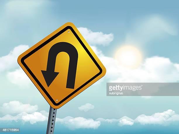 u turn road warning sign - turning stock illustrations, clip art, cartoons, & icons
