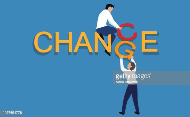 「変化」という言葉を「チャンス」に変える。個人的な発展とキャリアの成長。 - 幸運点のイラスト素材/クリップアート素材/マンガ素材/アイコン素材