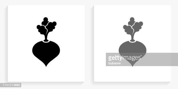 turnip black and white square icon - turnip stock illustrations
