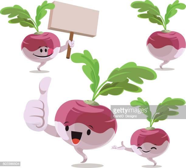 turnip cartoon set c - turnip stock illustrations
