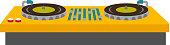 DJ turntable console mixer vector illustration