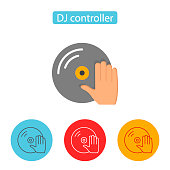 DJ Turntable Record Player With Hand Icon.