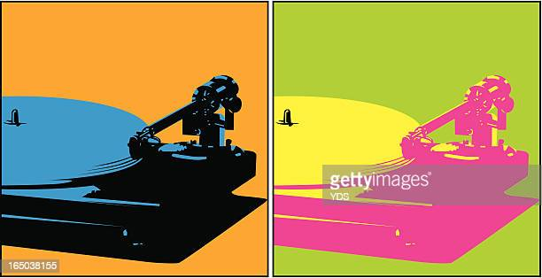 turntable (vector) - jazz stock illustrations, clip art, cartoons, & icons