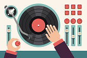 Turntable with dj hands. Modern music flat vector concept background