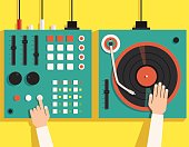 Turntable with dj hands. Vector flat illustration