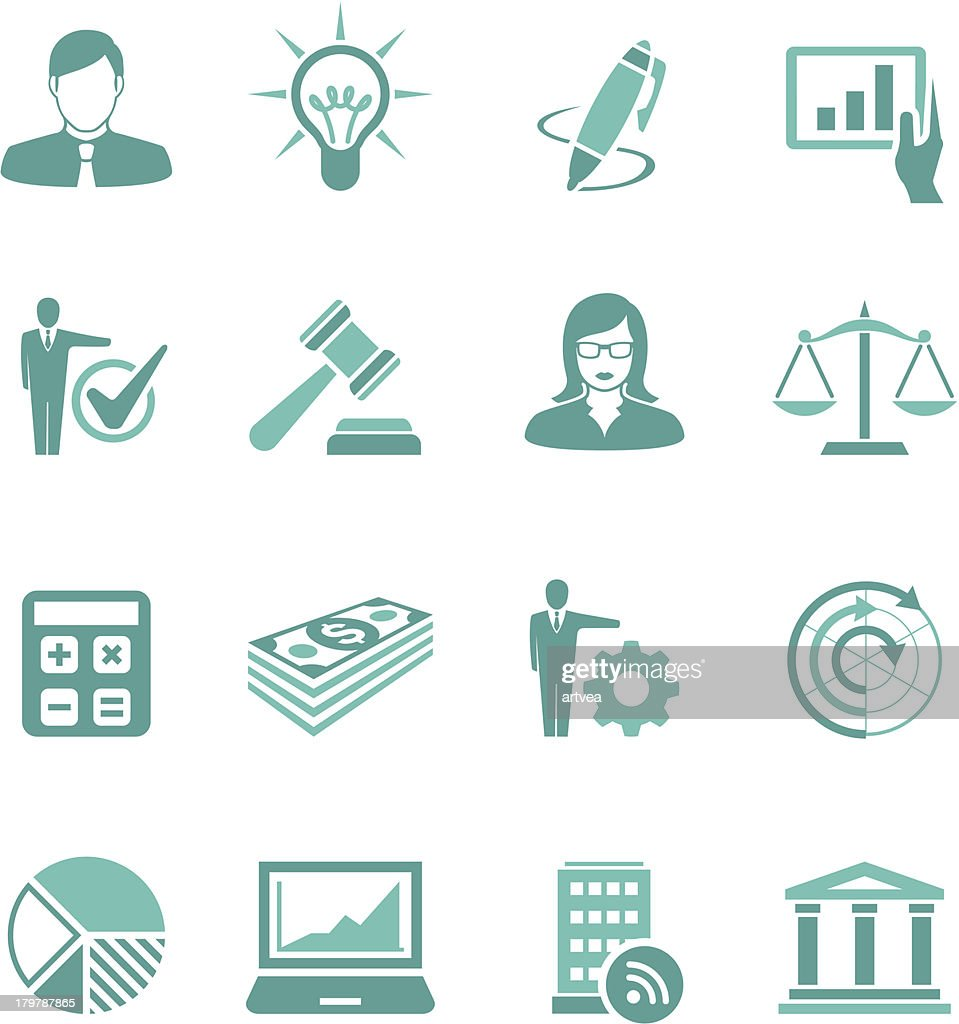 Turquoise Business Icon Set