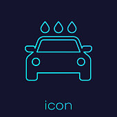 Turquoise Car wash line icon isolated on blue background. Carwash service and water cloud icon. Vector Illustration