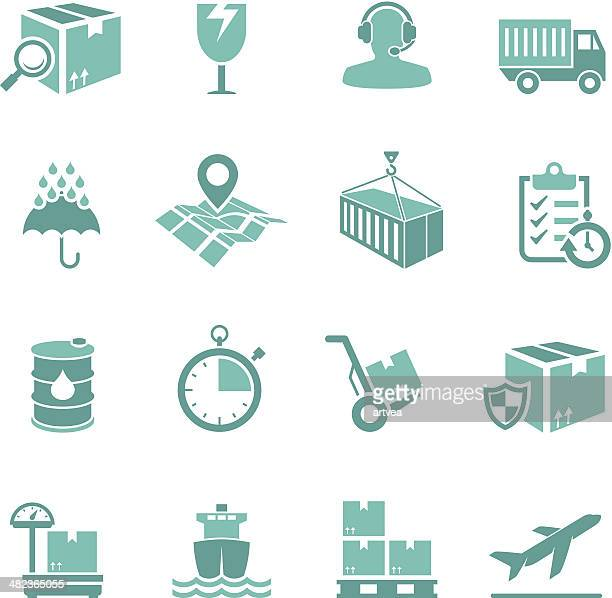 turquoise delivery icon set - hand truck stock illustrations, clip art, cartoons, & icons