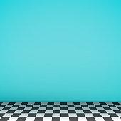 Turquoise empty scene with checkerboard floor