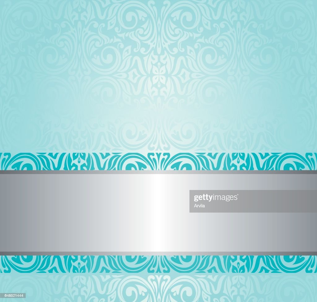 Turquoise floral vintage background design