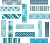 Turquoise Grey Washi Tape Graphics Collections.