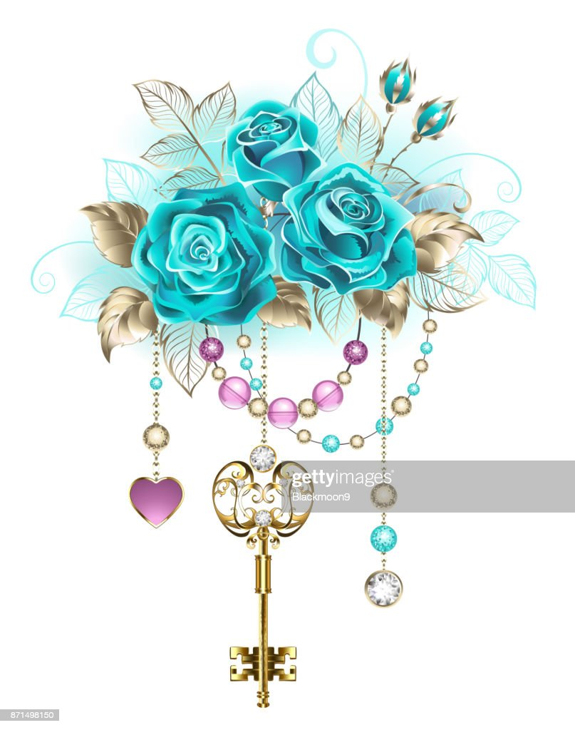 Turquoise roses with keys