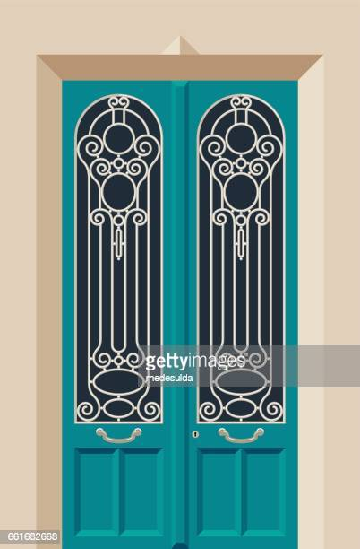 turquoise - door frame stock illustrations, clip art, cartoons, & icons
