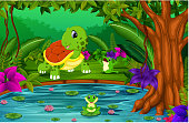 turtle and frog in the jungle with lake scene