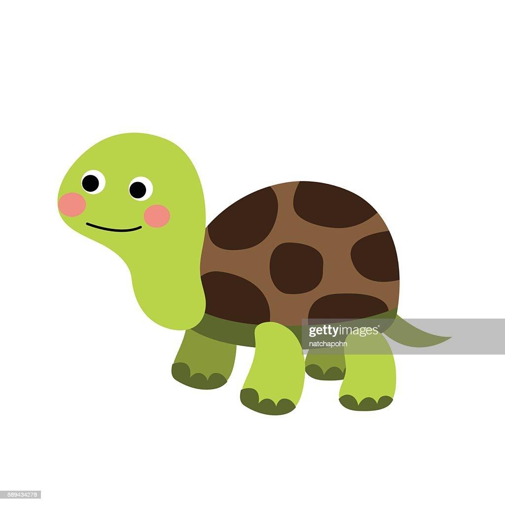 Turtle animal cartoon character vector illustration.