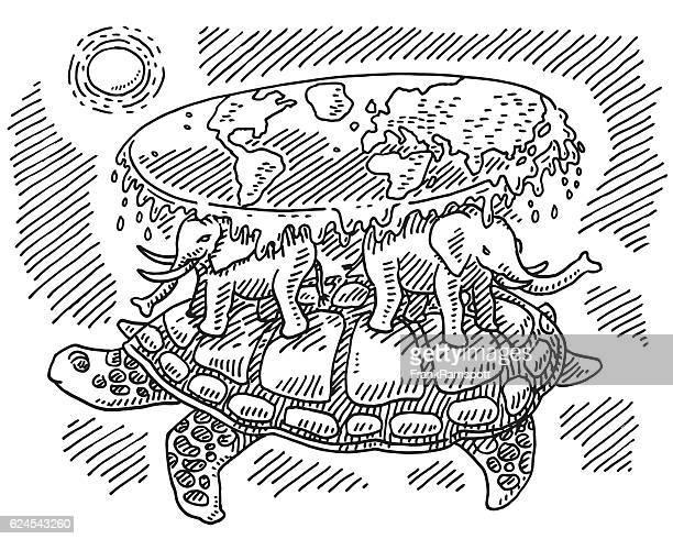 ilustraciones, imágenes clip art, dibujos animados e iconos de stock de turtle elephant flat earth concept drawing - tortugas