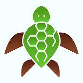 Turtle flat icon. Ocean or sea kareta tortoise illustration isolated on white. Marine turtle-shell animal gradient style design, designed for web and app. Eps 10.
