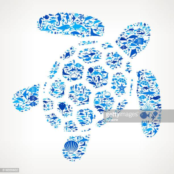 Turtle Ocean and Marine Life Blue Icon Pattern