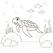 Turtle on the sea bottom and the fish swim , cartoon Coloring pages. Coloring book for children. Vector