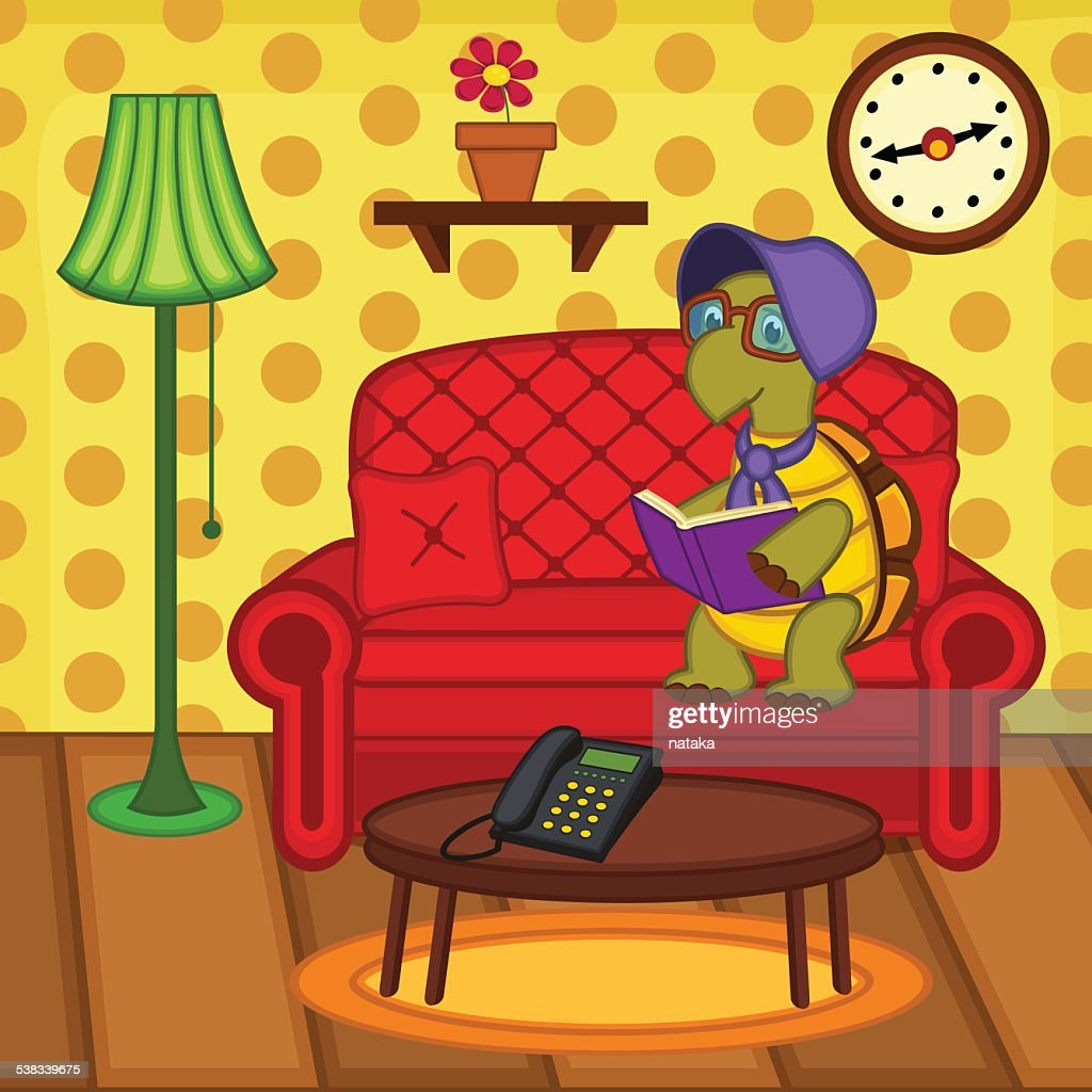 turtle reading book on couch