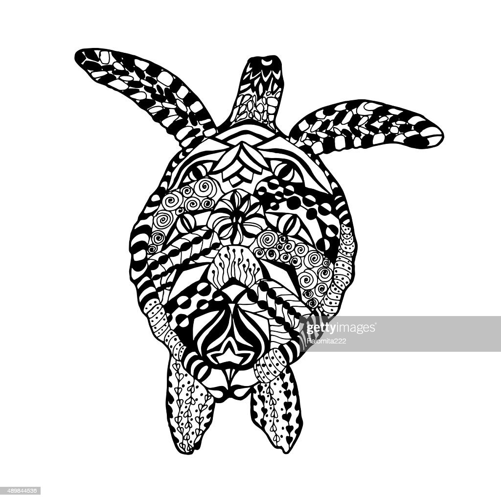Turtle. Sketch for tattoo or t-shirt