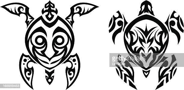 turtle tattoo - two animals stock illustrations