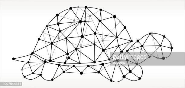 turtle  triangle node black and white pattern - turtle stock illustrations