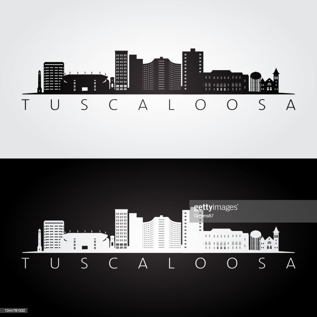 Tuscaloosa, USA skyline and landmarks silhouette, black and white design, vector illustration.