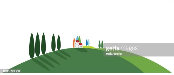 tuscany rural landscape - tuscany stock illustrations, clip art, cartoons, & icons