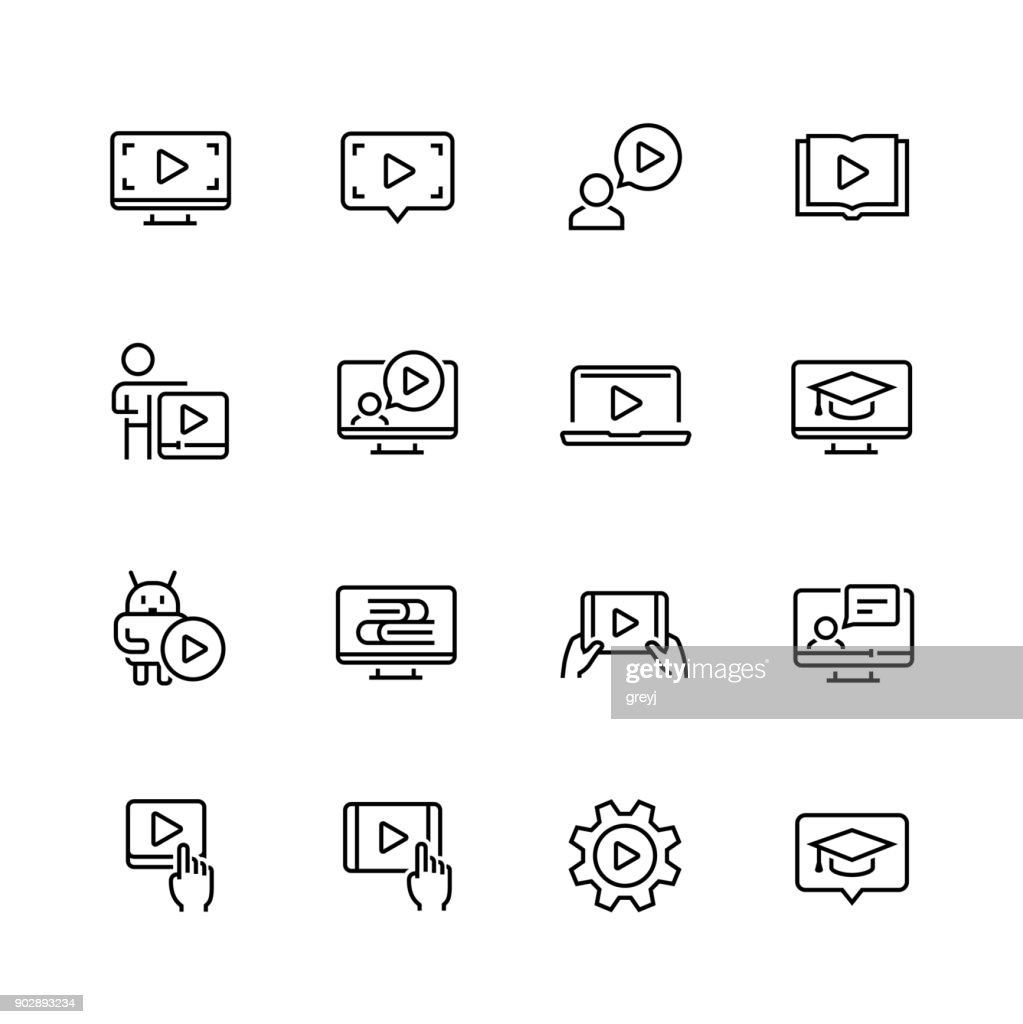 Tutorial related vector icon set in thin line style