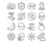Tutorials, Face scanning and Architectural plan icons. Location, Face verified and Consolidation signs. Vector