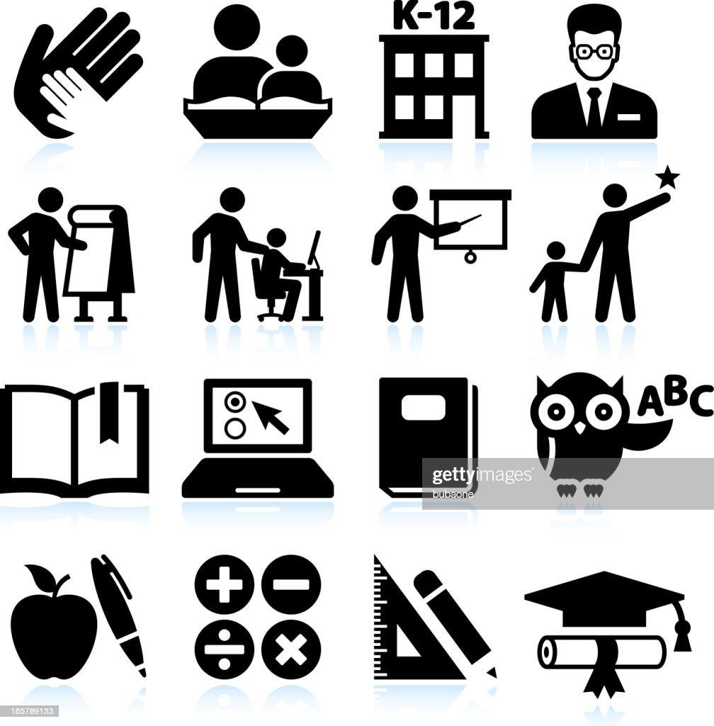 Tutoring and education black & white vector icon set : stock illustration