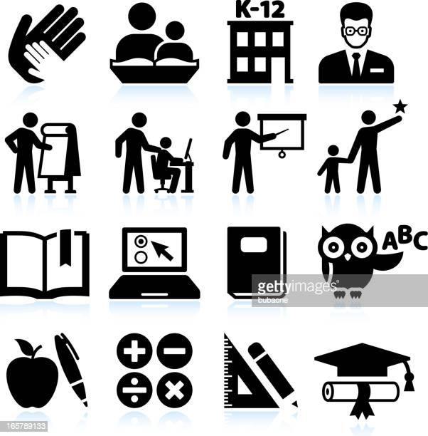 tutoring and education black & white vector icon set - instructor stock illustrations