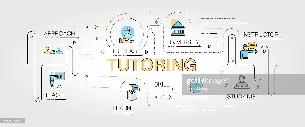 Tutoring banner and icons : stock illustration