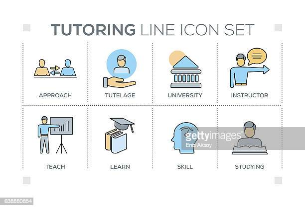 Tutoring keywords with line icons
