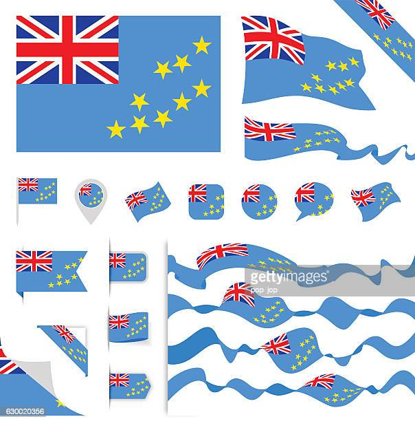 tuvalu flag set - tuvalu stock illustrations, clip art, cartoons, & icons