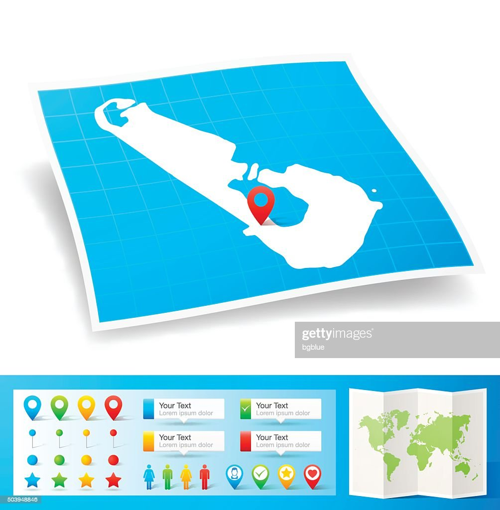 Tuvalu Map With Location Pins Isolated On White Background Vector